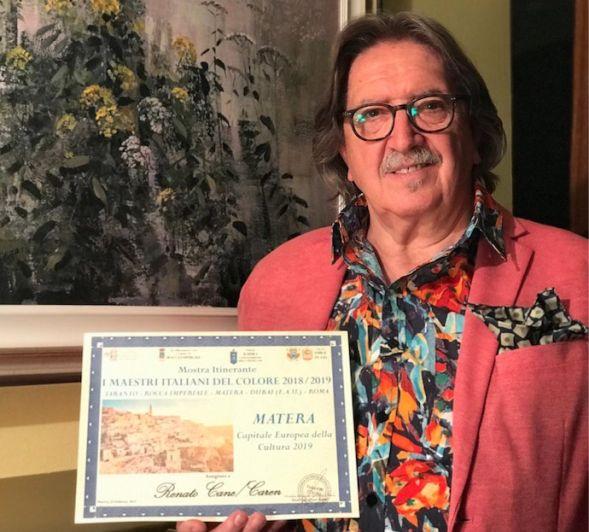 L'artista Renato Cane Caren premiato dal Comune di Matera