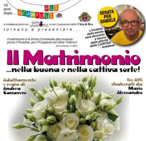 """Lo spettacolo teatrale """"Il Matrimonio"""" in scena al Politeama di Bra a favore della Caritas"""