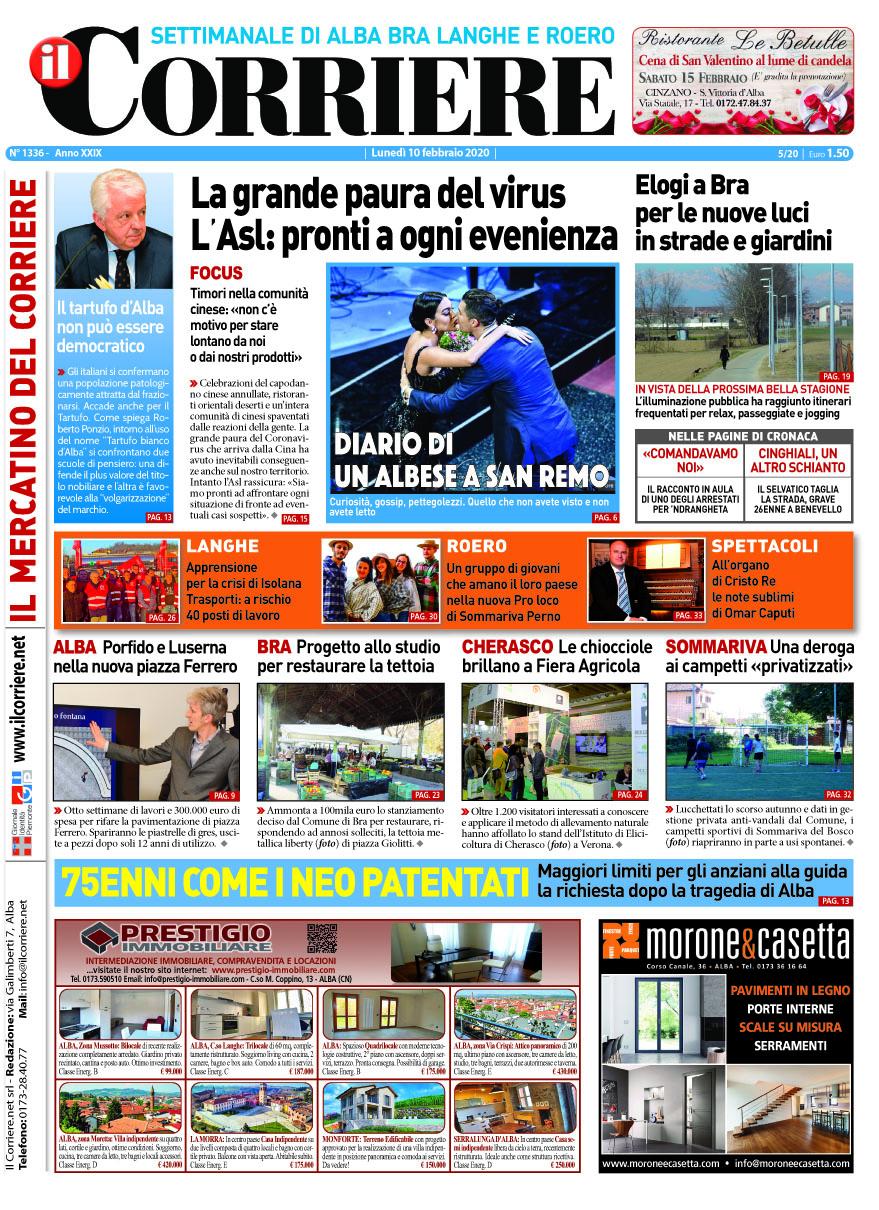 Le prima pagina del Corriere in edicola lunedi 10 febbraio