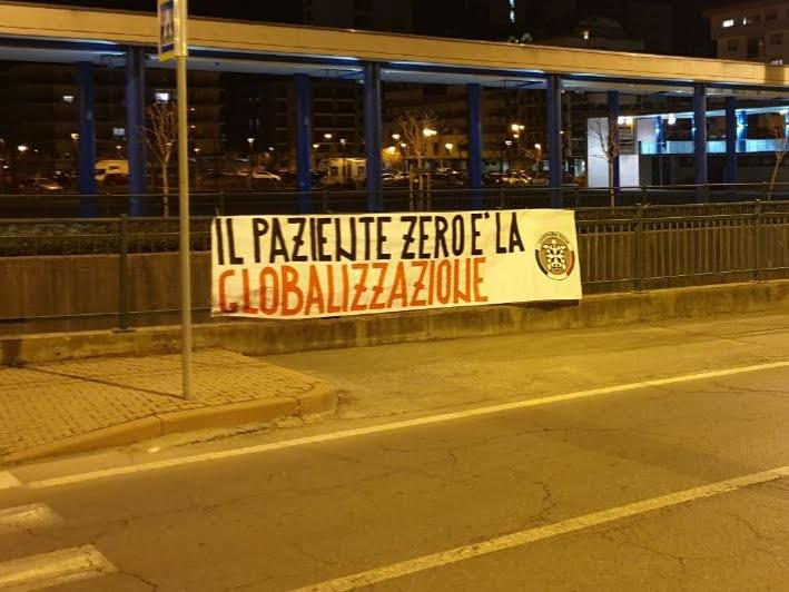 """""""Il paziente zero è la globalizzazione"""", striscioni di CasaPound ad Alba e Cuneo"""