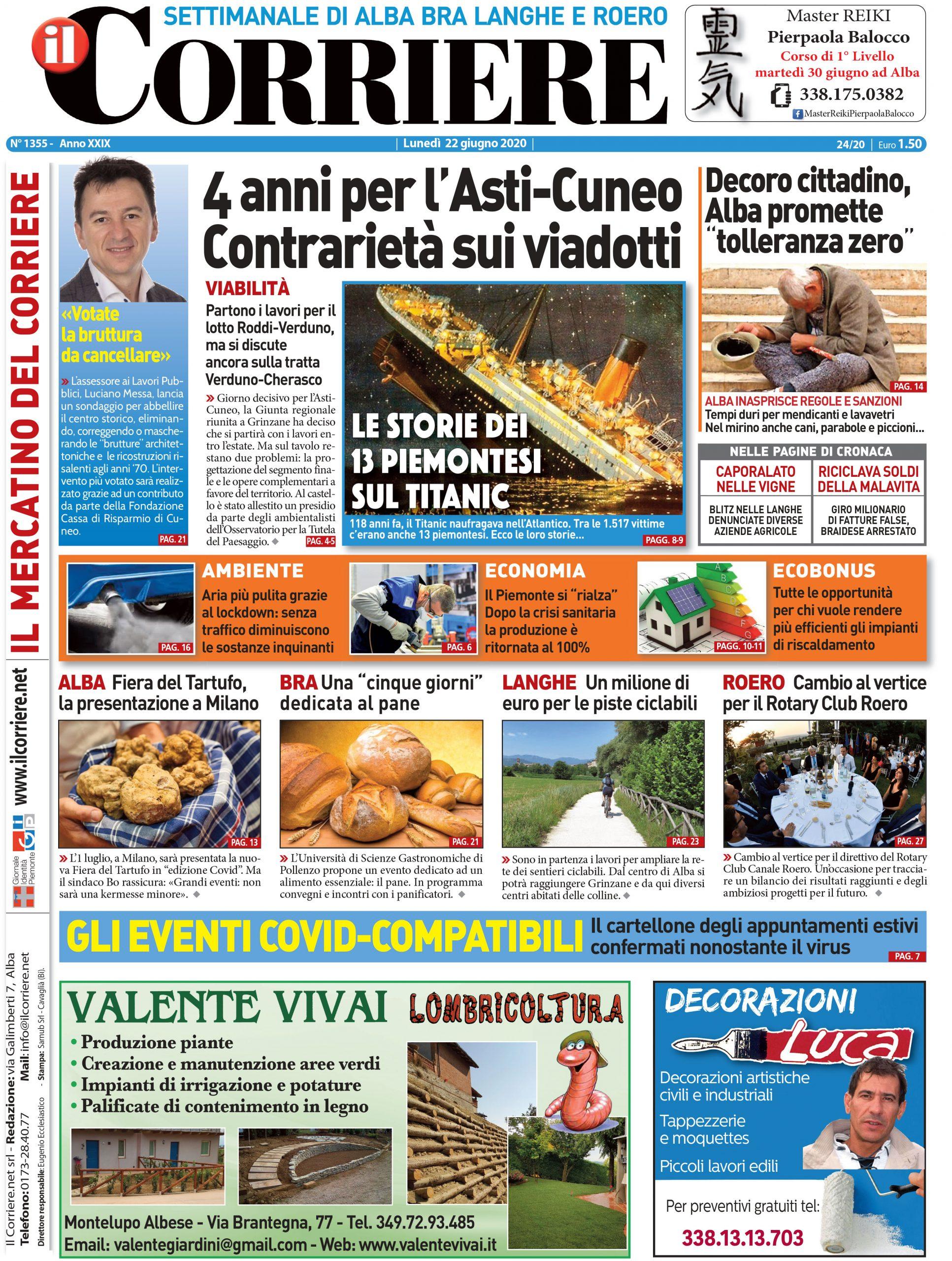La prima pagina del Corriere in edicola lunedì 22 giugno
